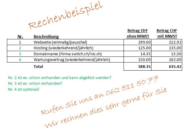 Webseite - Kosten - Preisbeispiel für die eigene Webpage